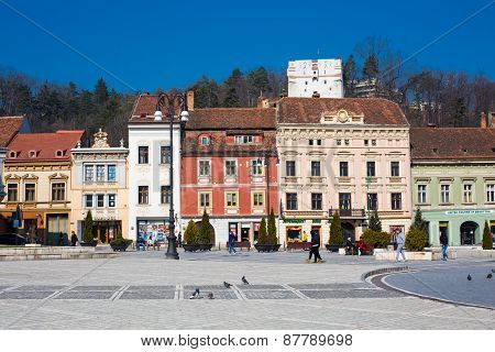 Council Square in downtown of Brasov, Romania.