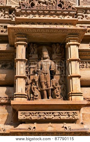 Stone Carved Sculpture Of Male Deity On Lakshmana Temple. Khajuraho
