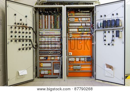 Electricity Distribution Box With Wires, Circuit Breakers And Fuse Box