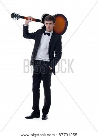 Image of elegant musician posing with guitar