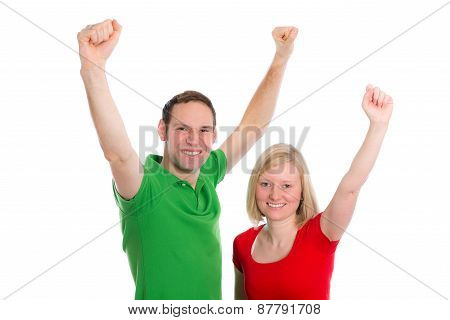 Young Couple With Hands Up