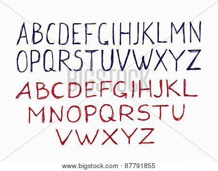 Handwritten calligraphic alphabet