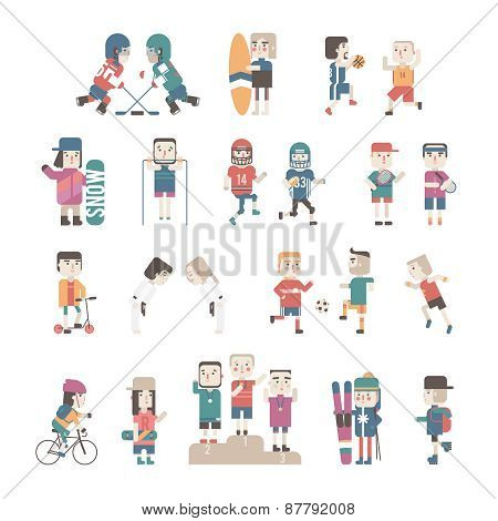 Sports People set, vector eps10 illustration.