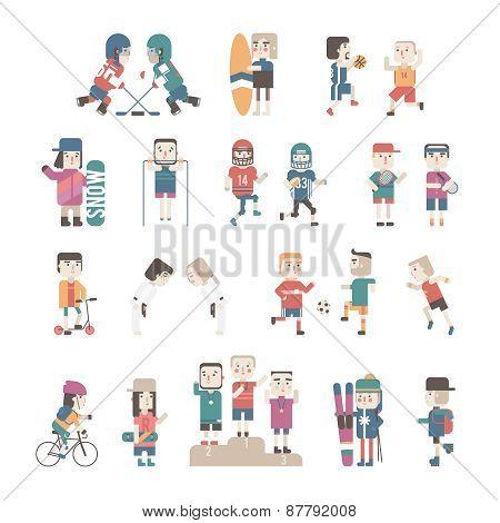 Sports People set, vector eps10 illustration.