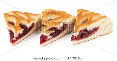Three Pieces Of Cherry Pie On White