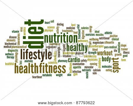 High resolution concept or conceptual abstract diet and health word cloud or wordcloud on white background