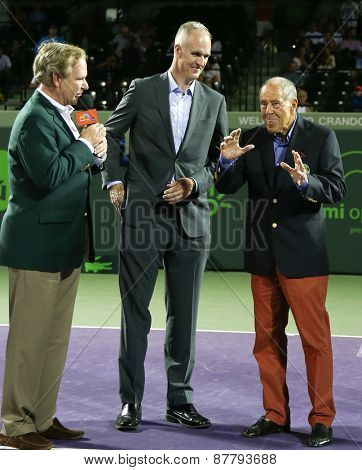 KEY BISCAYNE, FL-MAR 26: Tennis coach Nick Bollettieri (R) speaks at his International Tennis Hall of Fame ring ceremony at Crandon Park Tennis Center on March 26, 2015 in Key Biscayne, Florida.