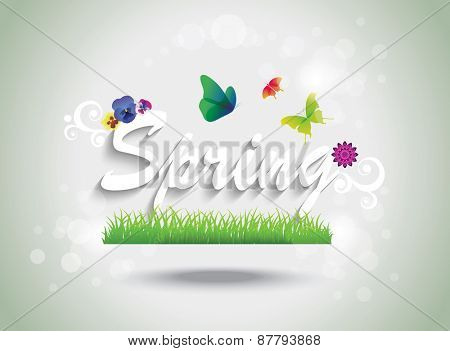 Spring and summer background with flowers and butterflies.