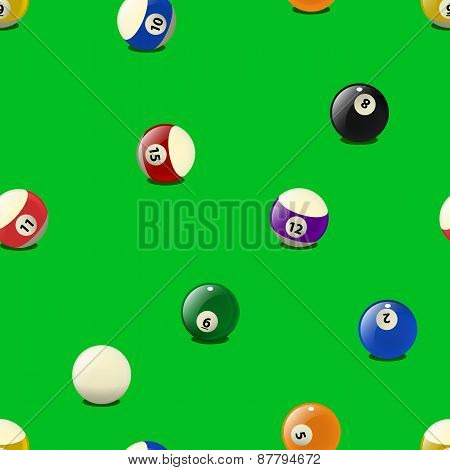 Set of color billiards balls, seamless pattern.
