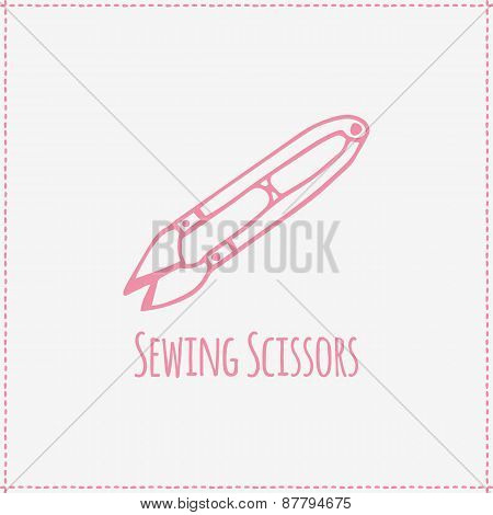 Vector illustration. Hand-drawn sewing scissors