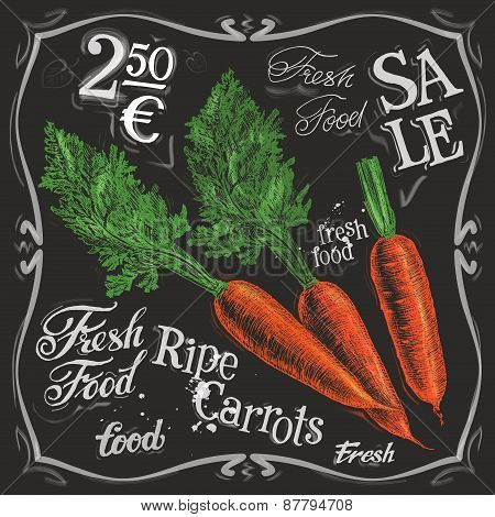 ripe carrots vector logo design template.  fresh vegetables, food or menu board icon.