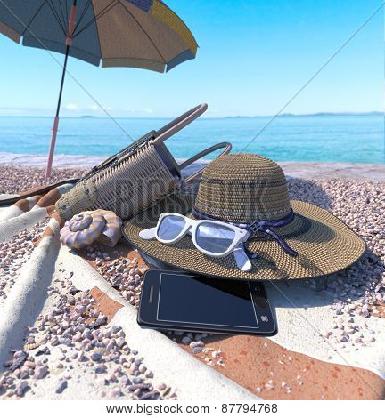 relaxing vacation concept background with seashell, umbrella and beach accessorie