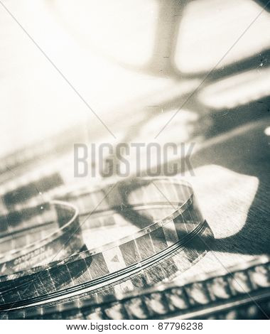 Abstract motion picture film background. Contains dust and grain.