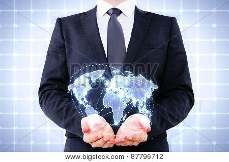 Businessman Holding Digital World Map