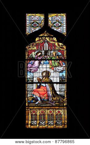 ZAGREB, CROATIA - APRIL 04: Saint Ladislaus, stained glass in Zagreb cathedral dedicated to the Assumption of Mary and to kings Saint Stephen and Saint Ladislaus in Zagreb on April 04, 2015