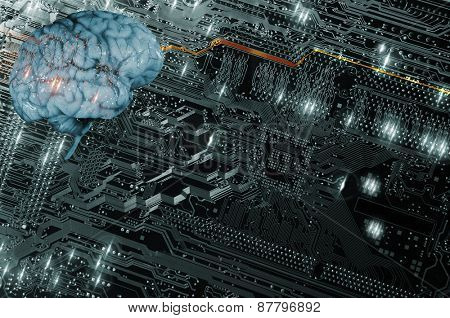 artificial intelligence, futuristic and communication, brain and computer-part