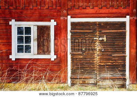 old, antique farm exterior, stained-glass and leaded windows, 17th century nostalgia Sweden