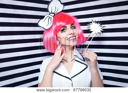 Photo of smiling young woman with talk bubble and professional comic pop art make up and accessories
