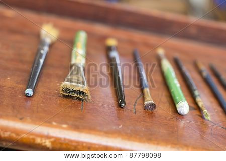 Old Used Paint Brushes