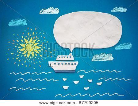 Ship and speech bubble. Plasticine illustration.