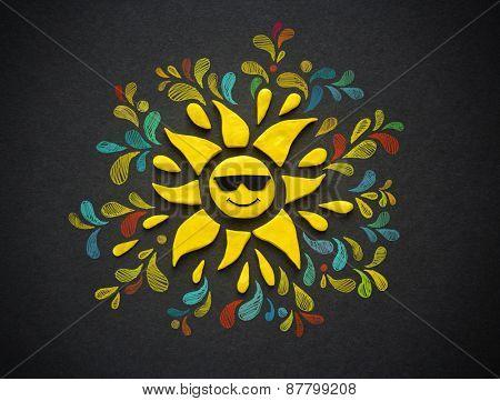 Decorative sun on black background. Plasticine illustration