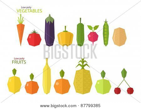 Vector set of low poly fruits and vegetables, isolated on white background