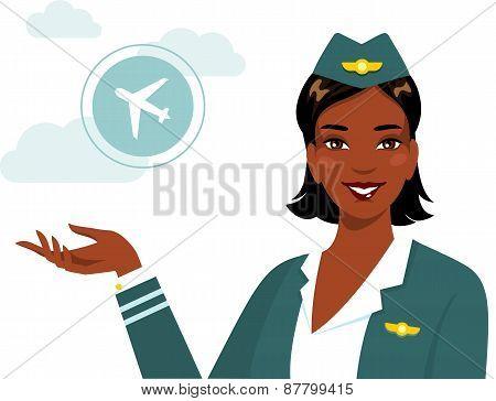 Beautiful african american ethnic stewardess in flat style