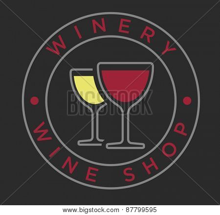 Vector linear style red and white wine glasses for winery label