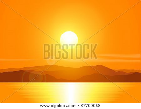 Landscape with sunset  over mountain range.