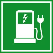 stock photo of electric station  - Electric car charging station sign - JPG