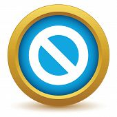 picture of bans  - Gold sign ban icon on a white background - JPG