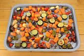 foto of parsnips  - Roasted vegetables on a baking tray  - JPG