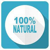 stock photo of 100 percent  - natural blue flat icon 100 percent natural sign  - JPG