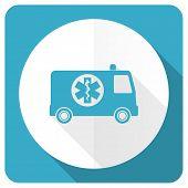 pic of ambulance  - ambulance blue flat icon   - JPG