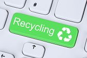 picture of nature conservation  - Recycling button for recycle natural conservation on computer keyboard - JPG