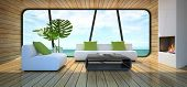 picture of beach-house  - Modern interior of the beach house 3D rendering - JPG