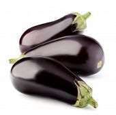 pic of aubergines  - Eggplant or aubergine vegetable isolated on white background cutout - JPG