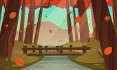 image of bridge  - Cartoon illustration of the small wooden bridge in the woods - JPG