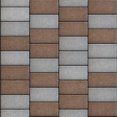 pic of paving  - Gray and Brown  Paving Consisting of  Rectangles Laid Out in a Chaotic Manner - JPG