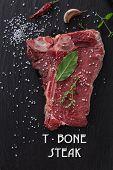 stock photo of t-bone steak  - Raw beef t - JPG