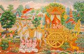 stock photo of mural  - Art Thai Mural mythology buddhist religion on wall in Wat Neramit Vipasama Dansai Loei Thailand - JPG