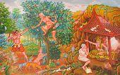 foto of mural  - art Thai Mural mythology buddhist religion on wall in Wat Neramit Vipasama Dansai Loei Thailand - JPG