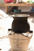 picture of brazier  - traditional old pot on charcoal stove brazier - JPG