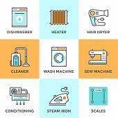 stock photo of dishwasher  - Line icons set with flat design elements of household goods home appliance cleaner and dishwasher machine air conditioning electronic scales - JPG