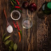 stock photo of bay leaf  - Spices on wooden table - JPG
