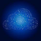 stock photo of circuits  - Cloud computing concept  - JPG