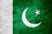 stock photo of pakistani flag  - flag of Pakistan or Pakistani banner on rough pattern texture background - JPG