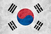 image of korean  - flag of South Korea or South Korean banner on rough pattern texture background - JPG
