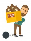 stock photo of ball chain  - A Caucasian businessman locked in a debt ball in chain for commiting crime in tax ivasion - JPG