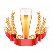 stock photo of malt  - Brewery Label with light beer glass and grain malt - JPG